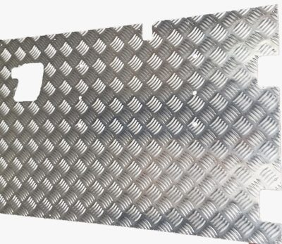 REAR SAFARI DOOR EXTERNAL CHEQUER PLATE COVER 3MM SATIN