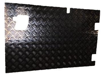 REAR SAFARI DOOR CHEQUER PLATE COVER WITH WIPER CUTOUT (EXTERNAL) BLACK