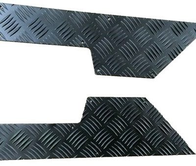 2ND ROW DOOR CARD CHEQUER KICK PLATE BLACK