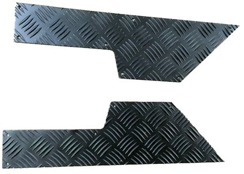 2ND ROW DOOR CARD CHEQUER KICK PLATE BLACK 3MM