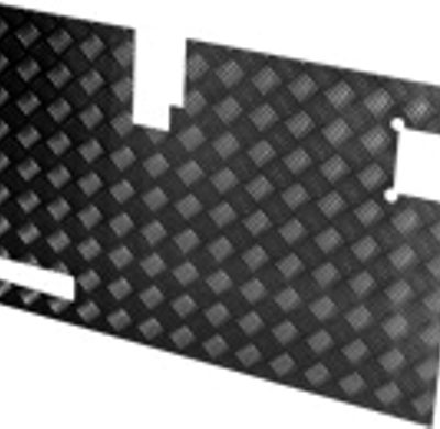TREAD PLATE REAR DOOR CARCASS( LATE 90)- BLACK 3MM (130MM WI